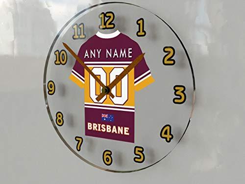 MyShirt123 NRL Australien National Rugby League Trikot-Wanduhr – jeder Name, jede Nummer, jedes Team, Brisbane Broncos Nrl