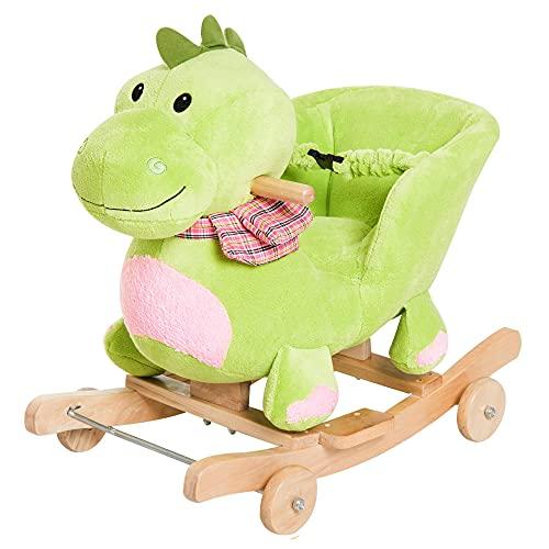 giordano shop Cavallo a Dondolo per Bambini in Legno e Peluche Drago Verde