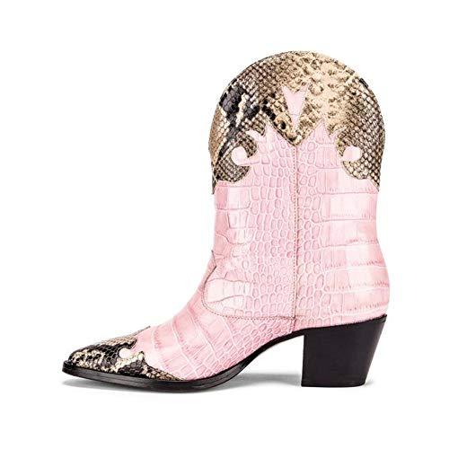 Dames Enkel Laarzen Puntschoen Leather Lage Hak Laarsjes Ga Naar De Get Together Prom Herfst Winter Mode Laarzen,Pink,43 EU