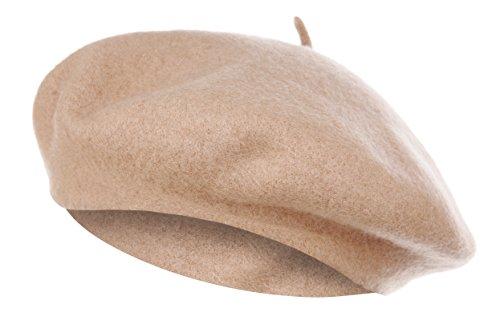 Vglook Klassische Wollmütze im französischen Stil Gr. Einheitsgröße, camel