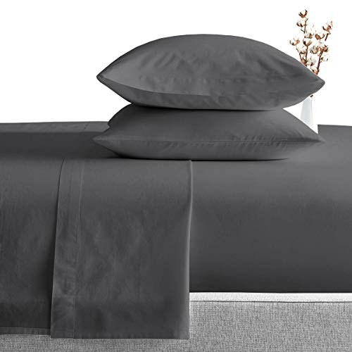 King Size Egyptian Cotton Sheets Luxury Soft 1000 Thread Count- Sheet Set for King Mattress Dark Gray Solid
