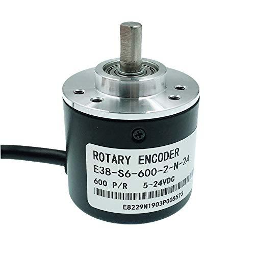 LJP-FADIAN, E38 Inkrementeller optischer Drehgeber 5-24V DC 360P / R 400p / R 600p / R AB Zwei Phasen 6mm Welle Ausgabe von NPN oder Spannung (Größe : 600PR, Voltage : Voltage Output)