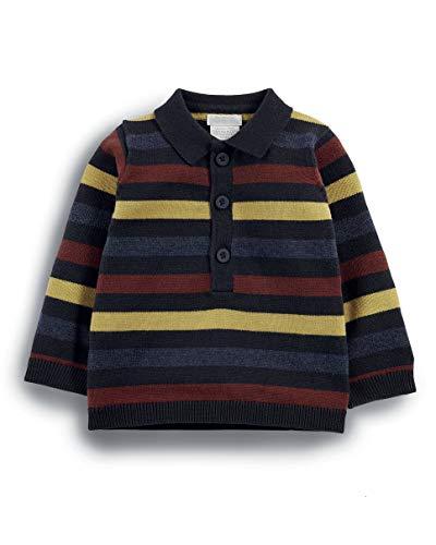 Mamas and Papas Mamas & Papas Baby-Jungen Striped Knit Polo Poloshirt, Blue (Navy Sugs), 68
