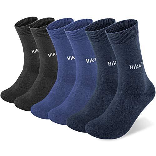 Amazon-Marke: Hikaro Socken Herren Damen Baumwolle Trekkingsocken Laufsocken Atmungsaktiv Warm Rutschfest 6 Paar 43-46 39-42 35-38 47-50 Wandersocken (Schwarz ×2+Blau Grün ×2 +Navy Blau ×2)