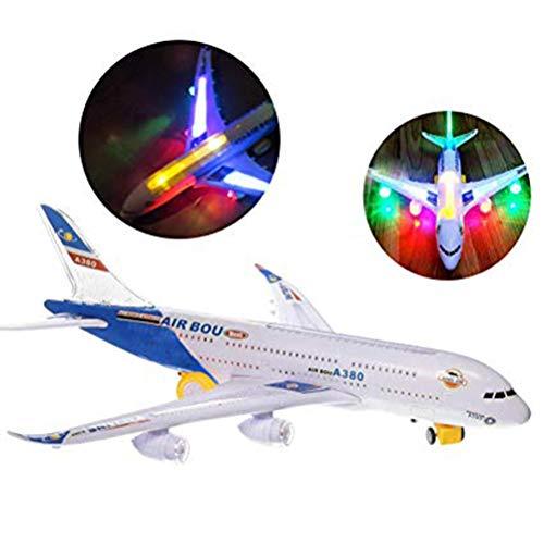 Electric Airplane Toy Kinder Spielzeug Flugzeug Airbus mit blinkenden Lichtern, A380 Airbus Modell, Änderungen Richtung Auto für Kinder