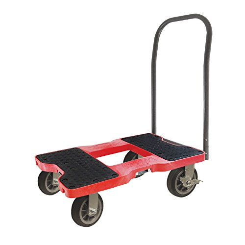 SNAP-LOC 1500 LB All-Terrain Push CART Dolly RED with Steel Frame, 6 inch Casters, Push Bar and Optional E-Strap Attachment