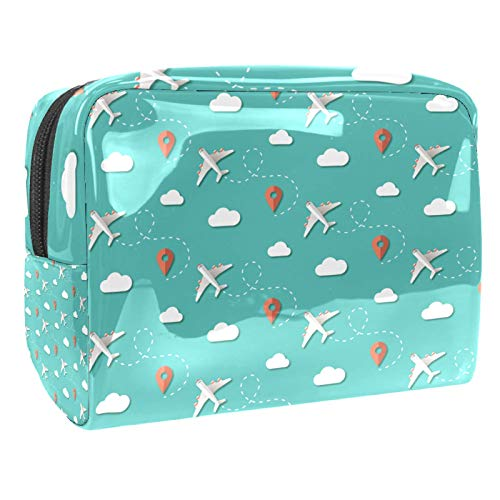 Portable Makeup Bag with Zipper Travel Toiletry Bag for Women Handy Storage Cosmetic Pouch Travel Planes Clouds Position Blue