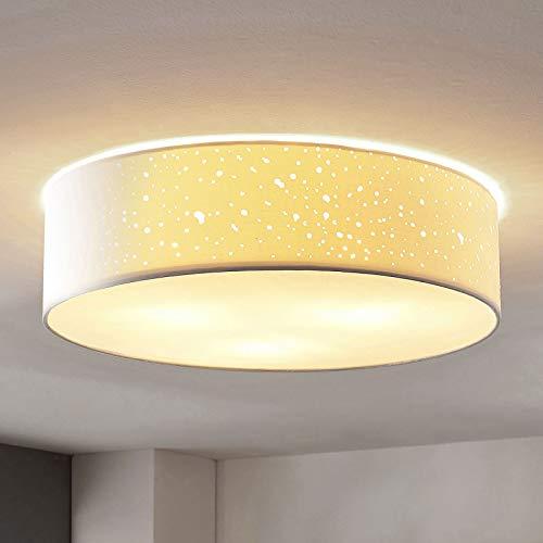 Lindby Deckenlampe 'Umma' (Modern) in Weiß aus Textil u.a. für Wohnzimmer & Esszimmer (3 flammig, E27, A++) - Deckenleuchte, Lampe, Wohnzimmerlampe