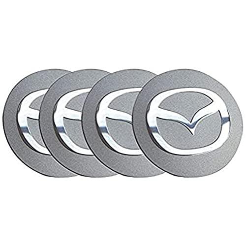 YOUGEYG 4X Cubierta de Cubo de aleación de Aluminio con Cubierta Central Plateada de 56,5 mm, Que Cubre el Estilo de Centro Elevado, más Adecuada para Ruedas Mazda 2 3 6 ATENZA AXELA CX-5 CX-7 CX-8