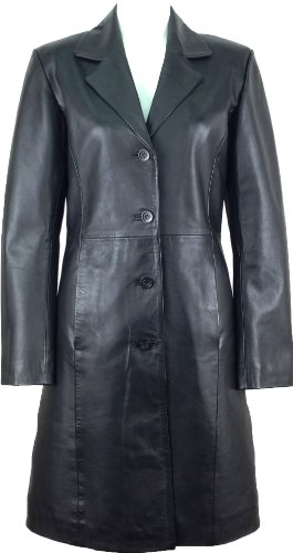 UNICORN Femmes classique longue Manteau Réel en cuir Veste Noir #AK Taille 40