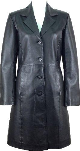 UNICORN Frauen Klassisch Lange Mantel Echte Leder Jacke Schwarz #AK - Größe 44