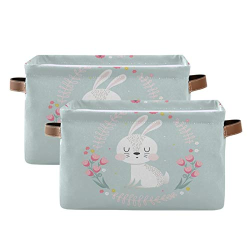LUCKYEAH Animal Rabbit Flower Garland Storage Bin Organiser Canvas Collapsible Cube Shelves Storage Baskets with Handles for Kid's Bedroom Home Office Nursery, 2 pcs