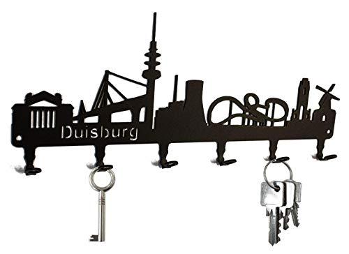 steelprint.de Schlüsselbrett/Hakenleiste * Skyline Duisburg * - Schlüsselboard Nordrhein-Westfalen, Schlüsselleiste, 6 Haken, schwarz, Metall