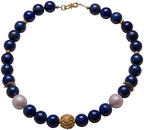 Lapislazuli - Collar de perlas barrocas de diseño, collar de Fenna, declaración de plata, piedras preciosas, hecho a mano
