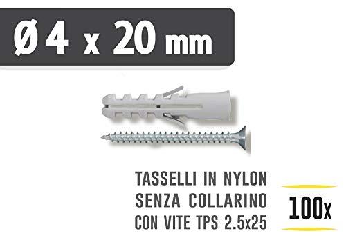 Masidef: Member of the Würth Group – Tacos de nailon sin collar, diámetro 4 x 20 mm con tornillos TPS 2,5 x 30 mm – 100 unidades.