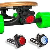 eggboards Led Skateboard Lights Underglow - Longboard Lights USB Rechargeable Front and Back. Ideal Electric Skateboard Lights Kit Accessories (Blue+Red Lights   Black Trim, LED Lights Kit (2pcs))