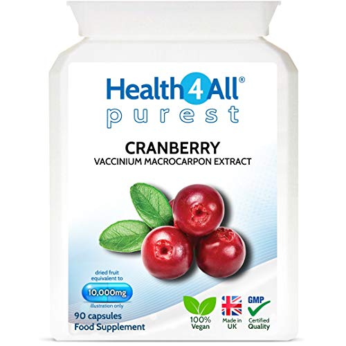 Cranberry 10,000mg 90 Capsules (V) Purest: no additives, Vegan Capsules (not Tablets). Made in The UK by Health4All