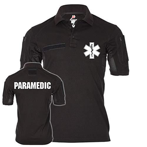 Copytec Tactical Poloshirt Alfa Paramedic Star-of-Life Medical Service Notarzt Arzt Rettungsdienst Medic Sanitäter Sani #20444, Größe:4XL, Farbe:Schwarz