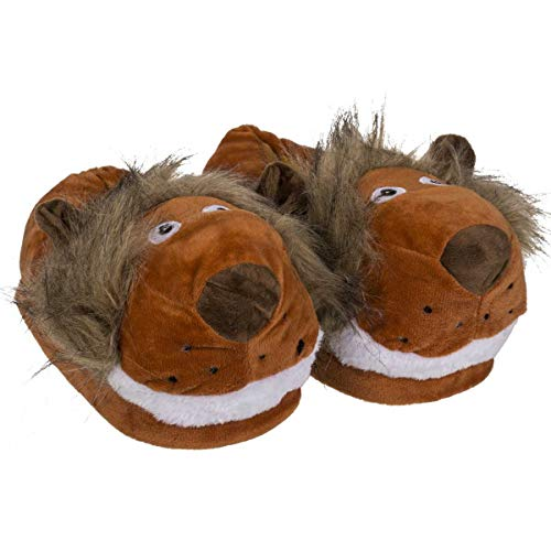 Objektkult Plüsch Hausschuhe Löwe für Erwachsene, Pantoffeln mit weichem Fell und niedlichem Löwen-Kopf. rutschfeste Sohle. Tolles Geschenk zu jeder Gelegenheit, Größe:41/42