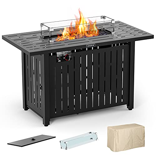 43in Outdoor Propane Gas Fire Pit Table with Glass Wind Guard, Glass Rock,...