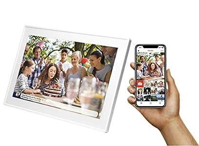 "Marco digital de fotos Denver PFF-1513WHITE de 15.6"" con Wi-Fi. Comparte fotos al instante desde la aplicación móvil. Temporizador. Pantalla táctil con panel IPS. Resolución: 1920x1080"