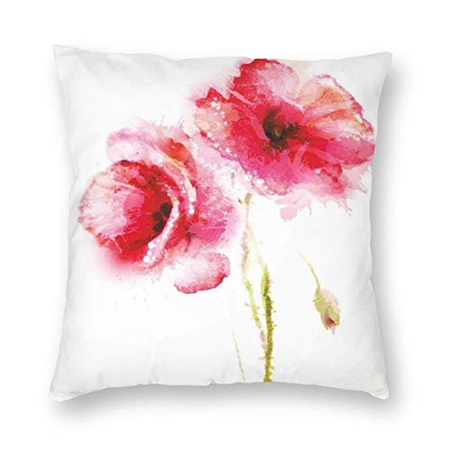ZUL 3D Print Throw Pillow Covers,Little Red Spring Summer Time Garden Florals Field Poppy Artwork,Decorative Square Cushion Covers Case for Sofa Couch Home Decor