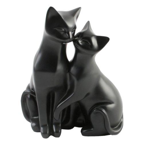 """Katzenfigur mit zwei Katzen, Motiv \""""Mr & Mrs Cat\"""", Zierelement für Katzenliebhaber, Weiß, Kunstharz, Schwarz , 21 x 16 x 12cm"""