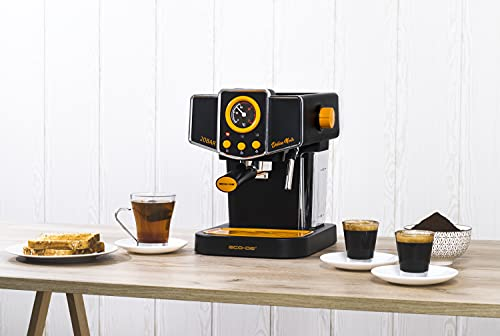ECODE Cafetera Espresso Delice Noir, 20 Bares de Presión, Vaporizador Orientable, Depósito de 1.5 litros, Mono/Doble dosis, Manómetro con Temperatura ECO-419 DN