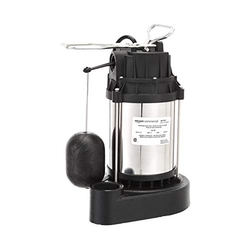 AmazonCommercial 3/4 HP Submersible Sump Pump with Stainless Steel Motor Shell and Cast Iron Base, Mechanical Float Switch