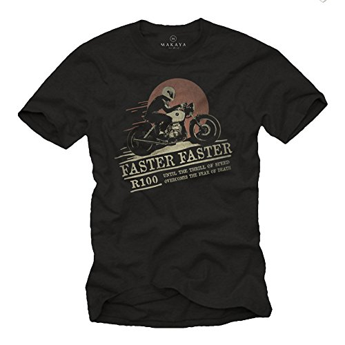 MAKAYA Ropa Moto Hombre - Camiseta Cafe Racer Originales - R100 Faster Faster Negra XXL