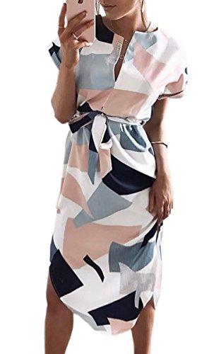 ECOWISH Sommerkleider Damen Kurzarm V-Ausschnitt Strand Blumen Kleider Abendkleid Knielang Weiß XL