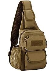Selighting Tactische schoudertas militaire sling rugzak crossbody tas met flessenhouder voor trekking camping wandelen reizen