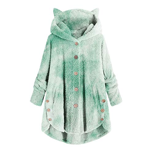 Xmiral Hooded Pullover for Women Plush Loose Button Tops Gradient tie dye Printed Coat with Pocket Plus Size(c-Green,XXL)