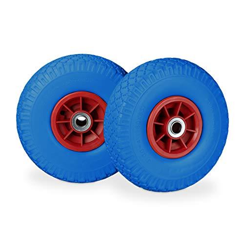Relaxdays 2X Sackkarrenrad, pannensichere Vollgummireifen, 3.00-4 Zoll, 20 mm Achse, bis 80 kg, 260 x 85 mm, blau-rot