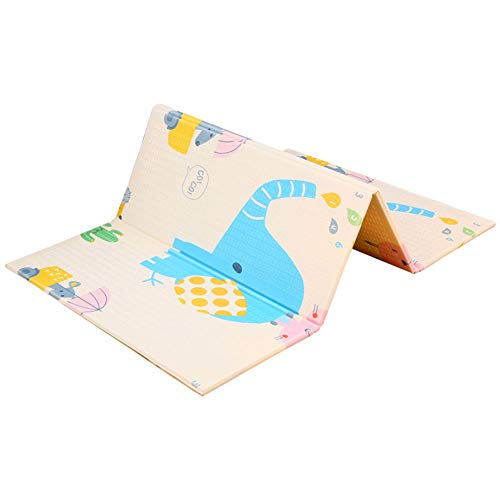 Best Review Of Folding Children Crawling Mat, Double-Sided Pattern Design Portable Clim Mat Waterpro...