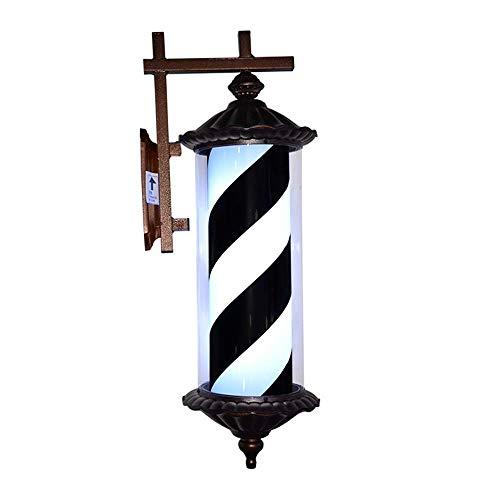 XCJJ Barber Pole Led Light Hair Salon Barber Shop Open Sign Rotating Rome Style Red White Blue Strips, Black,Noir