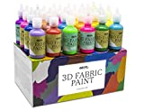Pintura Textil 3D Nazca – Set 24 Colores (4 Neón UV) x 30ml – Pintura Permanente Perf...
