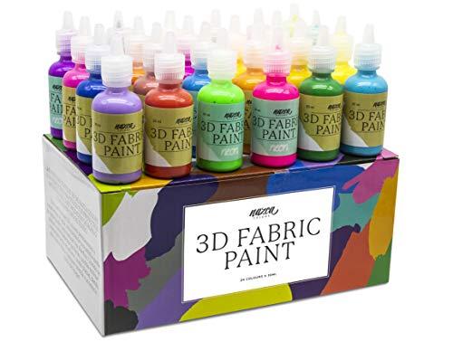 Pintura Textil 3D Nazca – Set 24 Colores (4 Neón UV) x 30ml – Pintura Permanente Perfecta para Pintar con Relieve sobre Tela, Ropa, Camisetas, Cerámica, Madera, Piedra o Cualquier Superficie
