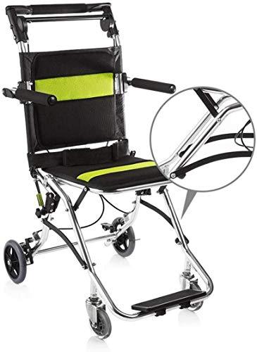 IREANJ Silla de ruedas de transporte plegable, ultraligera de aleación de aluminio con bolsa de transporte, pesa solo 7,5 kg para ancianos y niños mayores