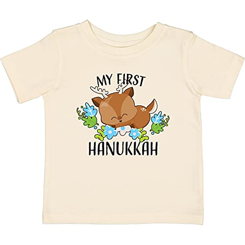 inktastic My First Hanukkah with Reindeer Baby T-Shirt 12 Months Natural 33432