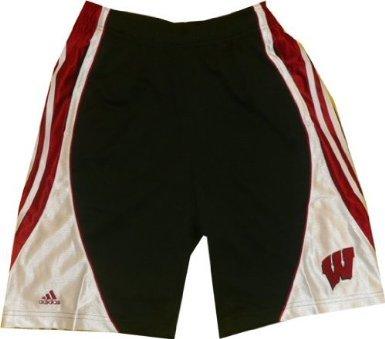 adidas Wisconsin Badgers Blacktop Black Mens Shorts (Small)