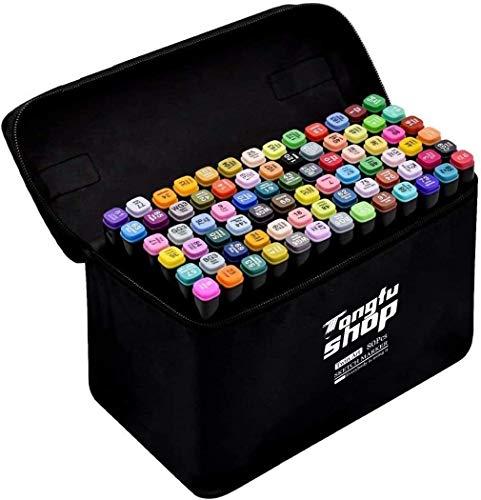 Rotulador de 80 Colores Marker Pen Marcadores Manga Creativos de Certificación SGS Rotulador Alcohol de Punta Doble ara Acuarela Graffiti para Principiantes Set de Rotuladores de Boceto Hecho a Mano