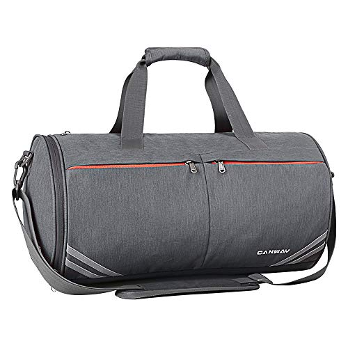 Canway Sports Gym Bag, 30L Travel Duffel bag with Wet Pocket & Shoes Compartment for Women Children, Lightweight (Gray)