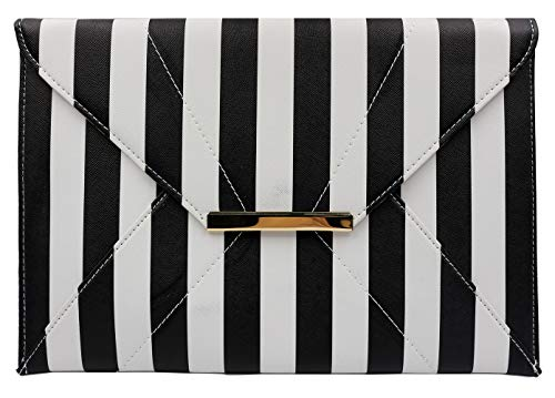 clutch purses for women wedding,Materasu Elegant Vintage Wedding Clutch Purse with Zip Pocket Insert Black White