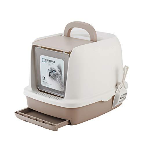 SYLTL Cat Litter Box, Cara Completa Inodoro para Gatos Cerrado, Retirable Inodoro para Gatos con Cajón Y Pala, Inodoro Y a Prueba De Salpicaduras,52 * 40 * 39cm,Marrón