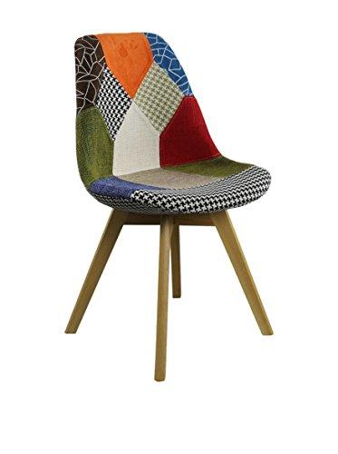 SuperStudio lo+demoda Beech Tulipa Patchwork Silla, Madera, Multicolor, 55.5x50x86 cm, 2 Unidades
