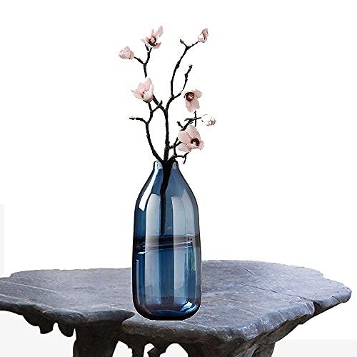 LXLAMP jarrones Decorativos Modernos Cristal,jarrones Decorativos de Suelo Altos Florero Decorativo,Florero para Boda,Hogar,Oficina (Color : Smoky Blue)
