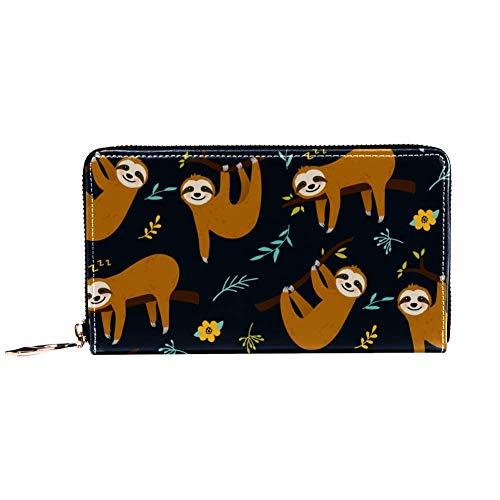 XCNGG Frauen Reißverschluss um Brieftasche und Telefonkupplung, Reisetasche Leder Clutch Bag Kartenhalter Organizer Wristlets Brieftaschen, Faultier hängen am Baum