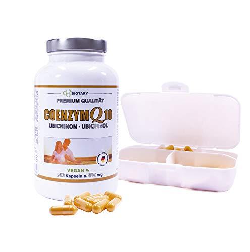 COENZYM Q10, 240 Kapseln a 200 mg, INCLUSIVE PILLENBOX, Hochdosierte Kapseln im 8 Monatsvorrat, Mit Vitamin C, B3, B7, schwarzem Pfeffer, 100% Vegan, hohe Bioverfügbarkeit, Q10 Ubiquinol Ubichinon