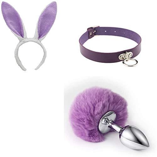 Cola de conejo esponjosa de metal O-ring Collar con colgante Collar de cuero y orejas de conejo Diadema Accesorios de cosplay Mujer Morado (S)